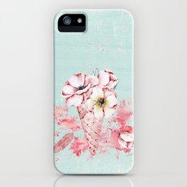 Pink & Teal Summer Fun Flower Ice Cream Waffle -Illustration iPhone Case