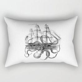 Octopus Attacks Ship on White Background Rectangular Pillow