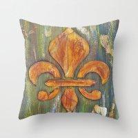 fleur de lis Throw Pillows featuring Fleur De Lis by Crystal Nero