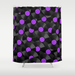 Vinyl Records Pattern (Purple) Shower Curtain
