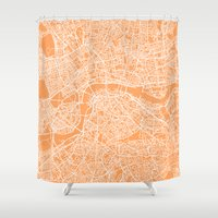 london map Shower Curtains featuring London Map by chiams