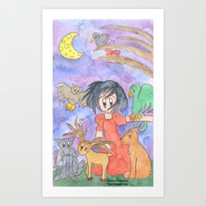 Overwhelmed Snow White Art Print