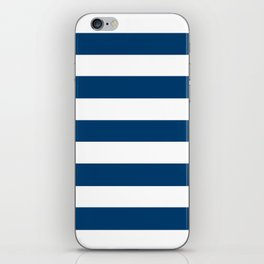 Ateneo blue - solid color - white stripes pattern iPhone Skin