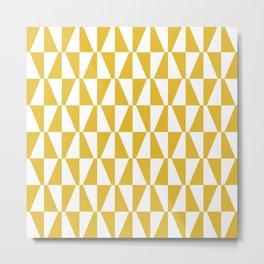 Mid Century Modern Geometric 313 Mustard Yellow Metal Print