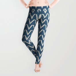 Linen White V Chevron Pattern on Blue Pair To 2020 Color of the Year Chinese Porcelain PPG1160-6 Leggings