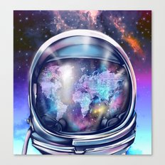 astronaut world map 1 Canvas Print