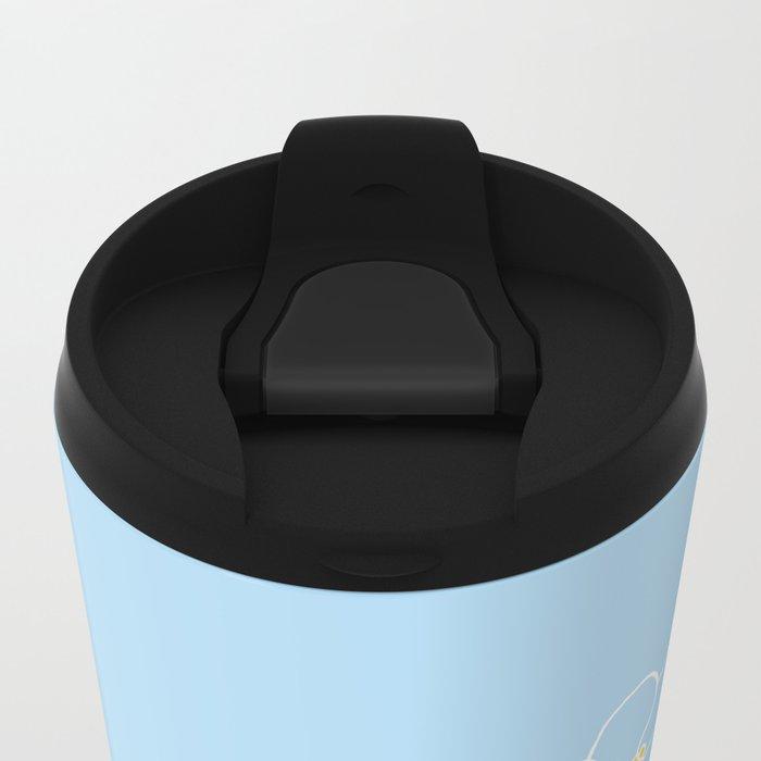 Forget Me Knot Blue Boarder Metal Travel Mug