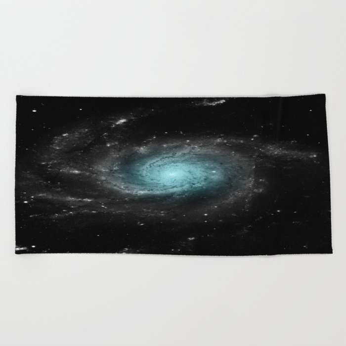 Aqua Blue Gray Pinwheel Galaxy Beach Towel