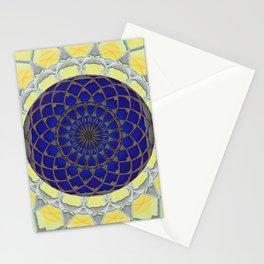 Solar Flower Geometric Textile Art Stationery Cards