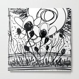 Scribble Doodle Flowers No.4A by Kathy Morton Stanion Metal Print