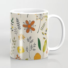 Colorful Plants and Herbs Pattern Coffee Mug
