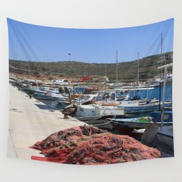Red Fishing Net and Fishing Boats in Datca Wall Tapestry