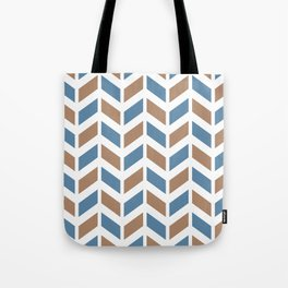 Blue, beige and white chevron pattern Tote Bag