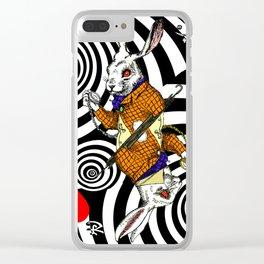 White Rabbit Vortex Clear iPhone Case