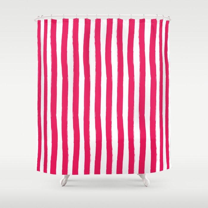 Cherry And White Cabana Stripes Palm Beach Preppy Shower Curtain