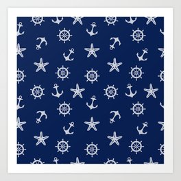 Navy Blue Nautical Pattern Art Print
