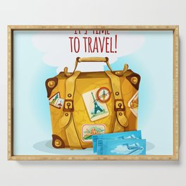 Travel Concept With Suitcase Serving Tray