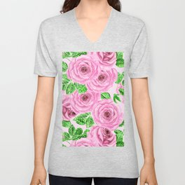 Pink watercolor roses with leaves and buds pattern Unisex V-Neck