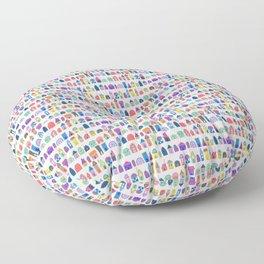 Colorful Neighbors Illustration (White) Floor Pillow