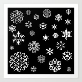 Modern black white hand painted snow flakes Art Print