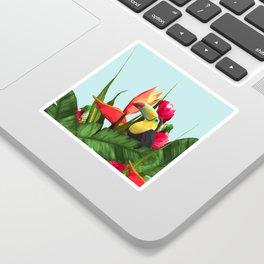 Toucan Tropical Banana Leaves Bouquet Sticker