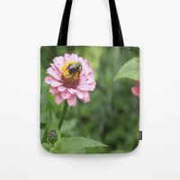 rileigh smirl Tote Bags featuring Flower and Bee by Rileigh Smirl