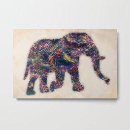Painted Elephant - Abstract Digital Animal Painting Metal Print