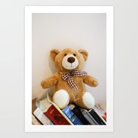 Ted and Books Art Print