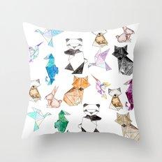 Cute Hand Drawn Geometric Paper Origami Animals Throw Pillow