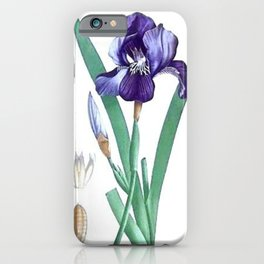 Vintage Botanical Purple Iris Flower iPhone Case