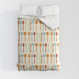 Kitchen Utensil Colored Silhouettes on Cream Comforters