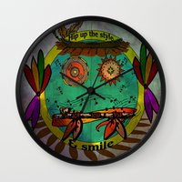 hippie Wall Clocks featuring Hippie Smilie by Wired Circuit