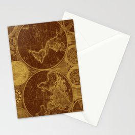 World Map (1794) Brown & Light Brown Stationery Cards