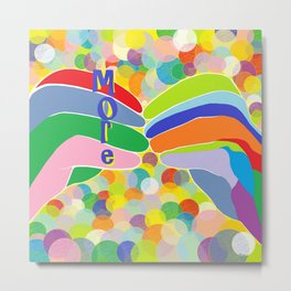 """ASL """"More"""" on a Bright Bubble Background Metal Print"""