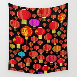 Lanterns on Black Wall Tapestry