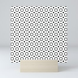 Black and white circles and small polka dots pattern Mini Art Print