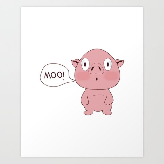 SOLD!! Confused Pig Art Print