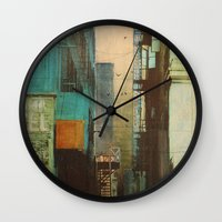 shapes Wall Clocks featuring ESCAPE ROUTE by Liz Brizzi