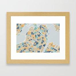 Navy and gold Boston map Framed Art Print