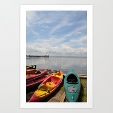 Bay Landscape with Canoe  Art Print