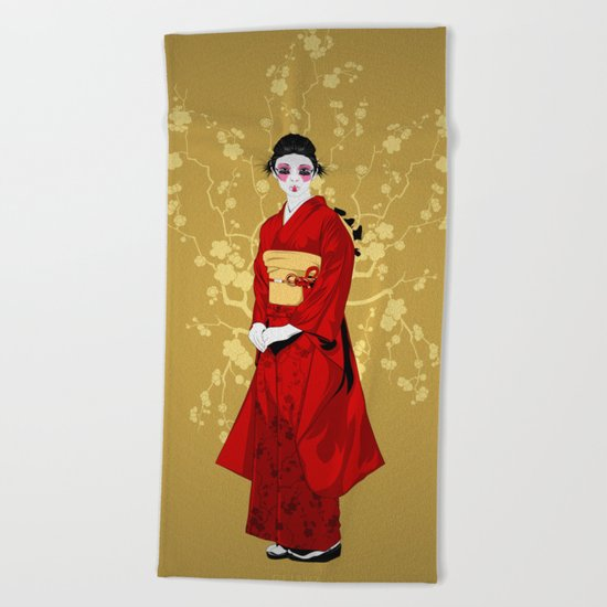 Geisha R Beach Towel