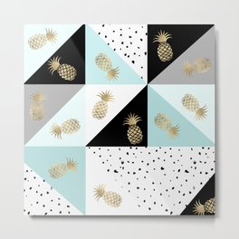 Pastel color block watercolor dots faux gold pineapple Metal Print