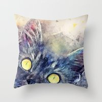 kitty Throw Pillows featuring Kitty by jbjart