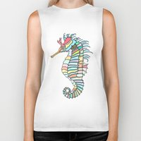 metallic Biker Tanks featuring Metallic Seahorse by J&C Creations