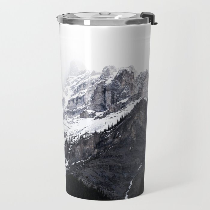 Moody snow capped Mountain Peaks - Nature Photography Travel Mug