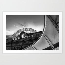 Denver Union Station Sunrise - Black and White Art Print