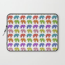 Colorful Parade of Elephants in Red, Orange, Yellow, Green, Blue, Purple and Pink Laptop Sleeve