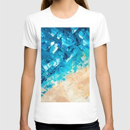 Deep | Abstract blue turquoise ocean beach acrylic brushstrokes painting T-shirt