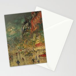 Paris City Streets by Moonlight, Boulevard de Clichy landscape painting by Konstantin Korovin Stationery Cards