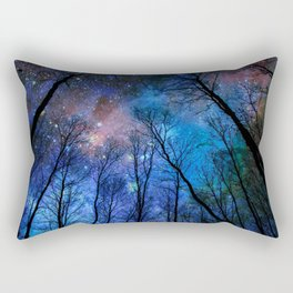 Black Trees Dark Blue Space Rectangular Pillow